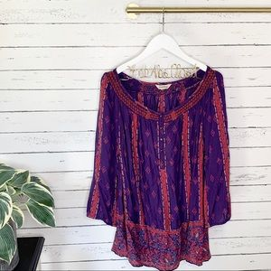 Lucky Brand Purple Floral Smocked Peasant Top